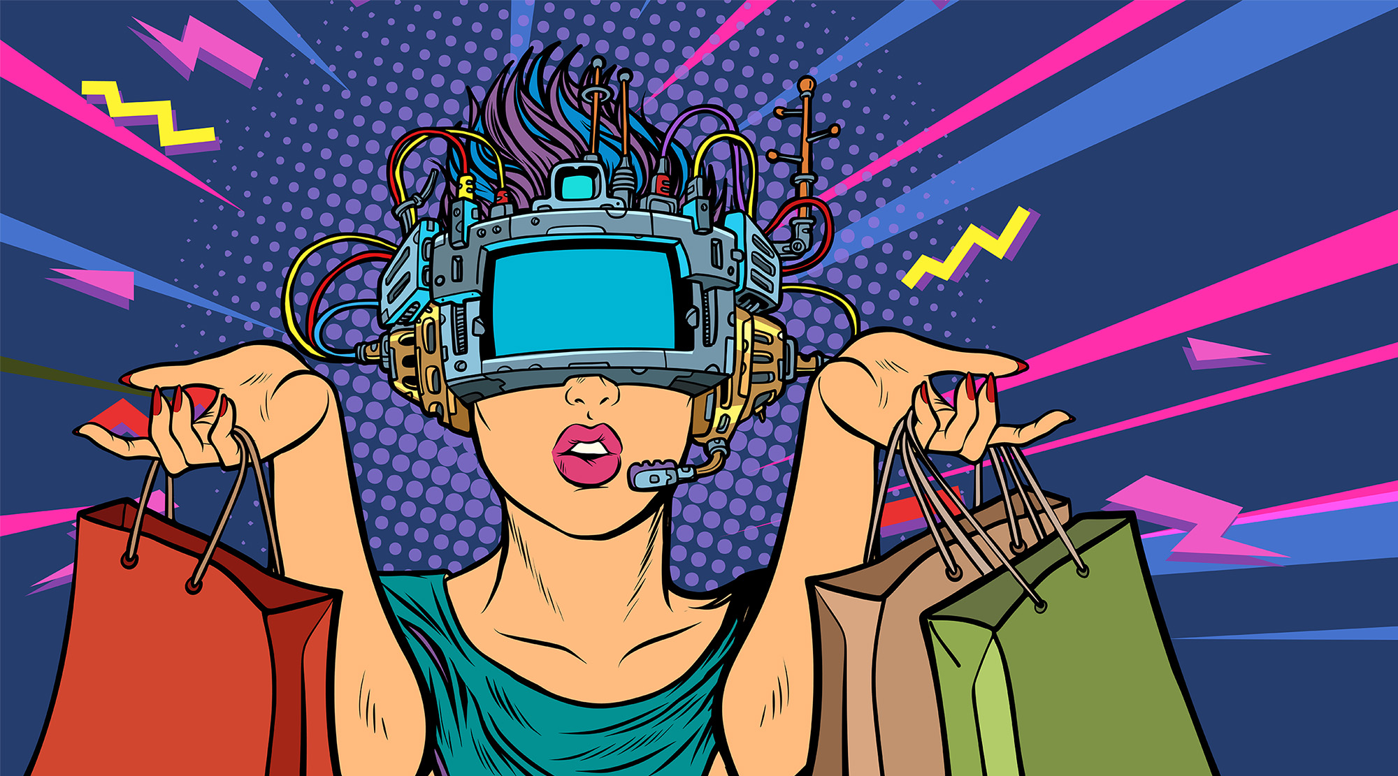 woman shopping on sale. virtual reality VR glasses. Pop art retro vector illustration vintage kitsch